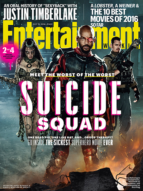 Cara Delevingne as Enchantress, Will Smith as Deadshot, and Joel Kinnaman as Rick Flag on the Cover of Entertainment Weekly