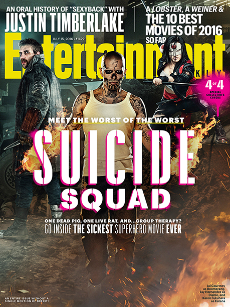 Jai Courtney as Captain Boomerang, Jay Hernandez as Diablo, and Karen Fukuhara as Katana on the Cover of Entertainment Weekly