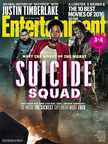 Adam Beach as Slipknot, Viola Davis as Amanda Waller, and Adewale Akinnuoye-Agbaje as Killer Croc on the Cover of Entertainment Weekly