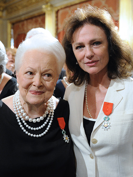 Olivia de Havilland With Jacqueline Bisset on September 9, 2010