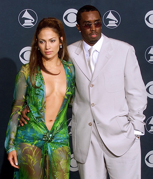 "Sean ""Puffy"" Combs With Then-Girlfriend Jennifer Lopez at the 42nd Annual Grammy Awards on February 23, 2000"