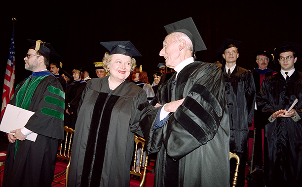 Olivia de Havilland With Jacques Cousteau After Receiving the Doctor Honoris Causa Degree by American University on May 26, 1994
