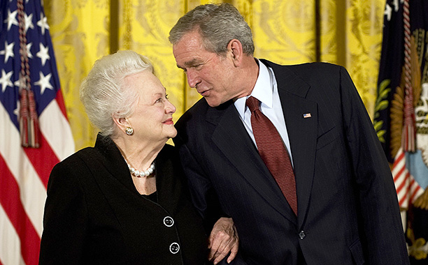 Olivia de Havilland With President George W. Bush After Receiving the National Medals of Arts on November 17, 2008