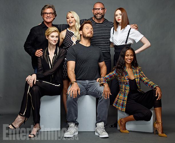 Kurt Russell, Pom Klementieff, Dave Bautista, Karen Gillan, Zoe Saldana, Chris Pratt and Elizabeth Debicki, 'Guardians of the Galaxy Vol. 2'