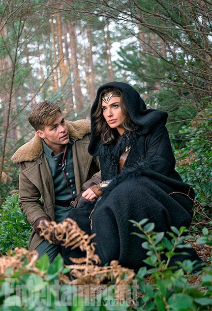 Chris Pine as Steve Trevor and Gal Gadot as Wonder Woman