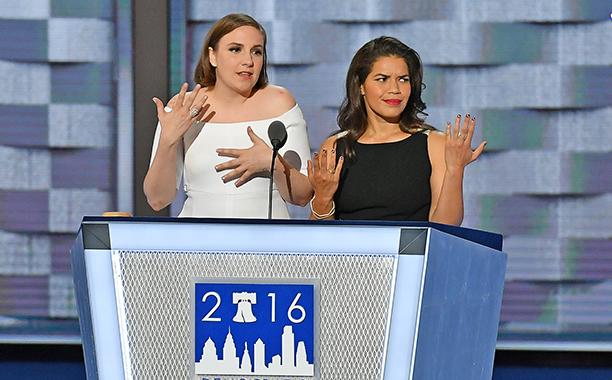Lena Dunham and America Ferrara Diss Donald Trump at the DNC