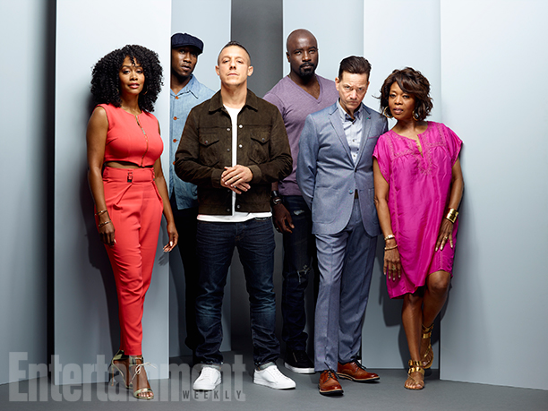Simone Missick, Mahershala Ali, Mike Colter, Theo Rossi, Frank Whaley, and Alfre Woodard, 'Marvel's Luke Cage'