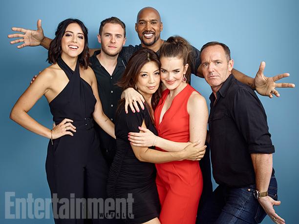 Chloe Bennet, Iain De Caestecker, Ming-Na Wen, Henry Simmons, Elizabeth Henstridge, and Clark Gregg, 'Marvel's Agents of S.H.I.E.L.D.'