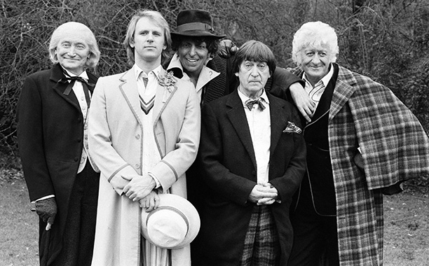 """5. Patrick Troughton (Second Doctor), Jon Pertwee (Third Doctor), and Tom Baker (Fourth Doctor) in """"The Five Doctors"""" (1983)"""