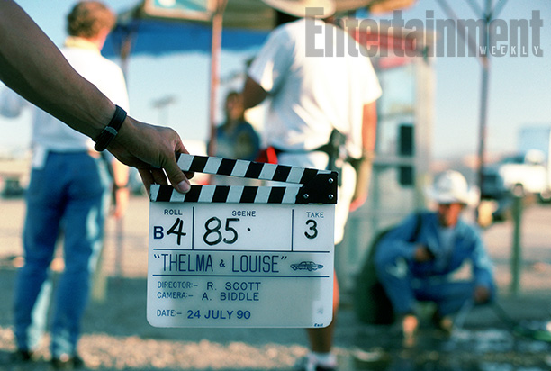 A Camera Slate Marks the Beginning of a Shot With Brad Pitt