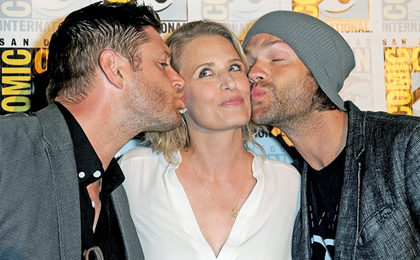 Jensen Ackles, Samantha Smith and Jared Padalecki at the Supernatural Special Video Presentation and Q&A
