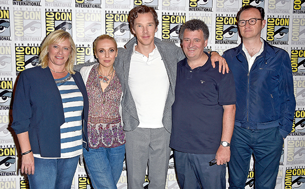 Sue Vertue, Amanda Abbington, Benedict Cumberbatch, Steven Moffat, and Mark Gatiss at the Sherlock Press Call
