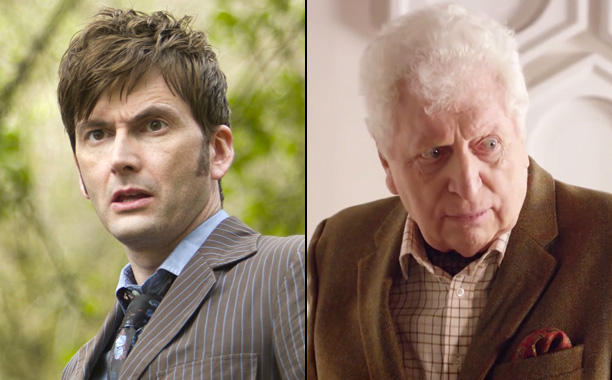 """1. David Tennant (Tenth Doctor) and Tom Baker (""""The Curator"""") in """"The Day of the Doctor"""" (2013)"""