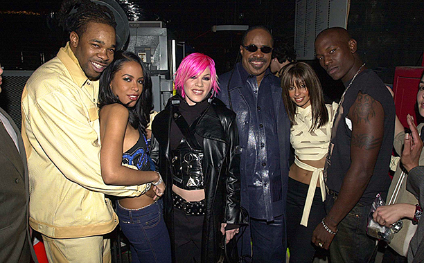 Aaliyah With Busta Rhymes, Pink, Stevie Wonder, Mya, and Tyrese at the MTV Icon Tribute to Janet Jackson on March 10, 2001