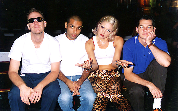 Performers Eric Stefani, Tony Kanal, Gwen Stefani, and Adrian Young of No Doubt