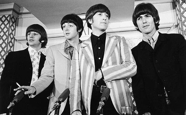 Ringo Starr, Paul McCartney, John Lennon, and George Harrison at Shea Stadium