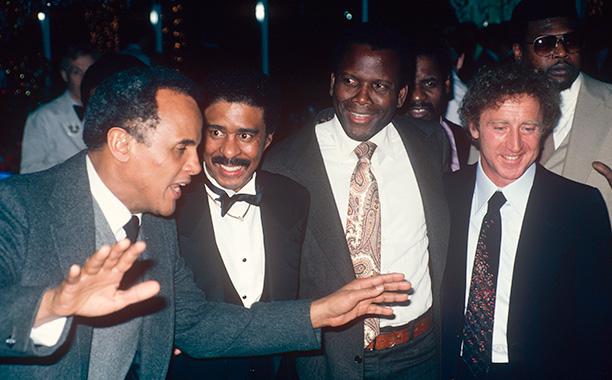 Gene Wilder With Sidney Poitier, Richard Pryor, and Harry Belafonte Circa 1980