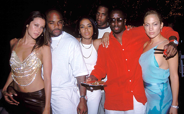 Aaliyah With Natane Adcock, Damon Dash, Jay Z, Sean Combs, and Jennifer Lopez on July 2, 2000