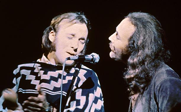 Stephen Stills and David Crosby of Crosby, Stills, & Nash Performing at Woodstock