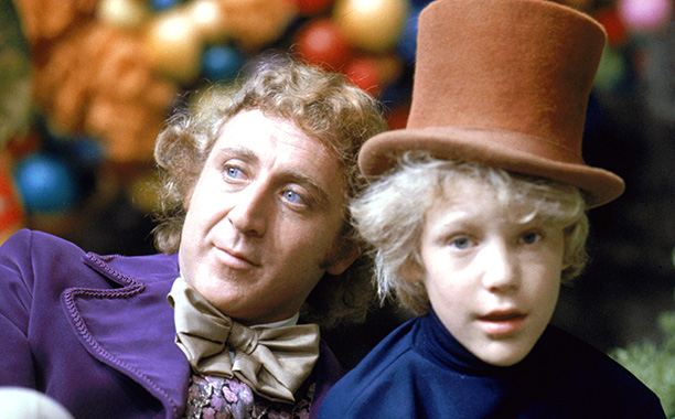 Gene Wilder as Willy Wonka and Peter Ostrum as Charlie Bucket on the set of Willy Wonka & the Chocolate Factory in 1971