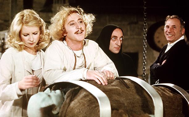 Gene Wilder With Teri Garr, Marty Feldman, and Mel Brooks in Young Frankenstein in 1974