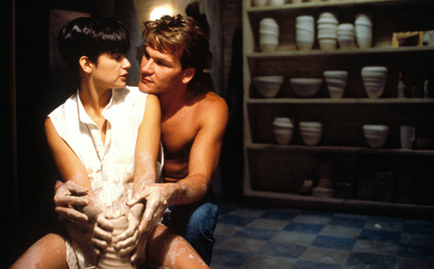 Patrick Swayze and Demi Moore in Ghost in 1990