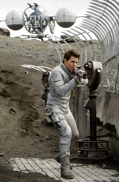 Though it's not technically spacewear, drone technician Jack Harper (Tom Cruise) wears a decidedly retro silver radiation suit as he roams the Earth in this…
