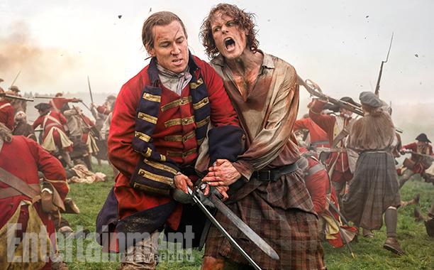 Tobias Menzies as Black Jack Randall and Sam Heughan as Jamie Fraser