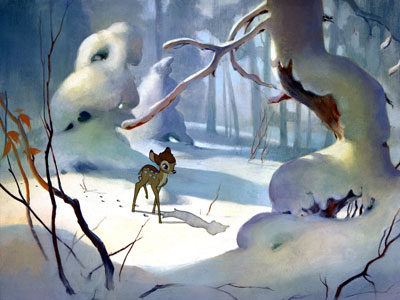 Bambi | From the stillness of a doe and her newborn fawn to the fade-out, in which he watches over his own newborn offspring, Bambi enchantingly touches…