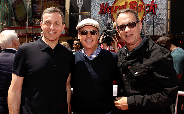 Michael Keaton With Tom Hanks and Bob Iger at the Premiere of Toy Story 3 in Hollywood on June 13, 2010