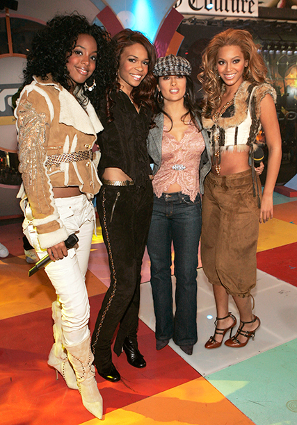 Salma Hayek With Kelly Rowland, Michelle Williams, and Beyonce Knowles on MTV's TRL on November 8, 2004
