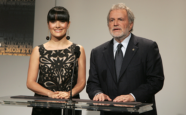 Salma Hayek With Sid Ganis at the 79th Annual Academy Awards' Nominations Announcement on January 23, 2007