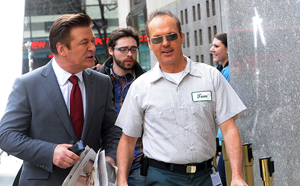 Michael Keaton With Alec Baldwin Filming 30 Rock in Manhattan on March 9, 2011
