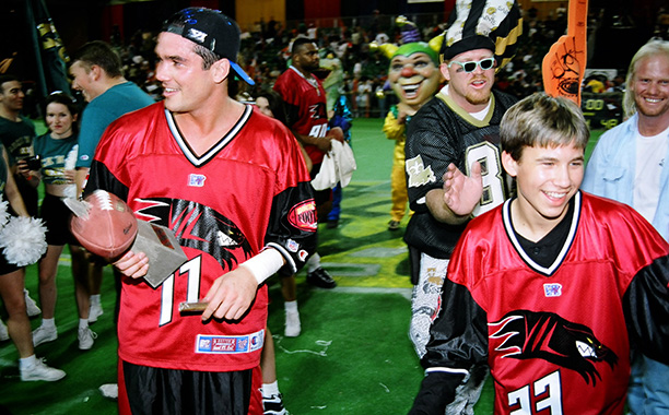 Jonathan Taylor Thomas With Dean Cain at MTV's 1997 Rock n' Jock Football in New Orleans on January 27, 1997