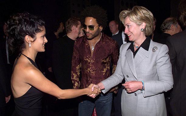 Salma Hayek With Hillary Clinton and Lenny Kravitz on September 14, 2000