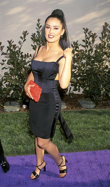Salma Hayek at the 1996 MTV Movie Awards on June 8, 1996