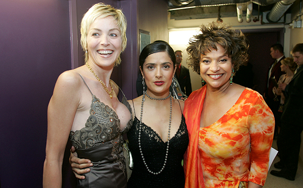 Salma Hayek With Sharon Stone and Debbie Allen in Hollywood on September 11, 2004