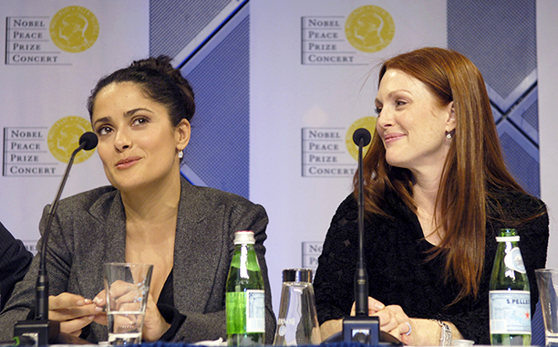 Salma Hayek and Julianne Moore at the Nobel Peace Prize Press Conference in Oslo on December 11, 2005