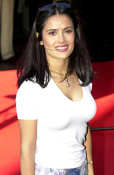 Salma Hayek in London on July 4, 2001