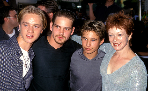 Jonathan Taylor Thomas With Devon Sawa, Scott Bairstow, and Frances Fisher at the Wild America Westwood Premiere on June 30, 1997