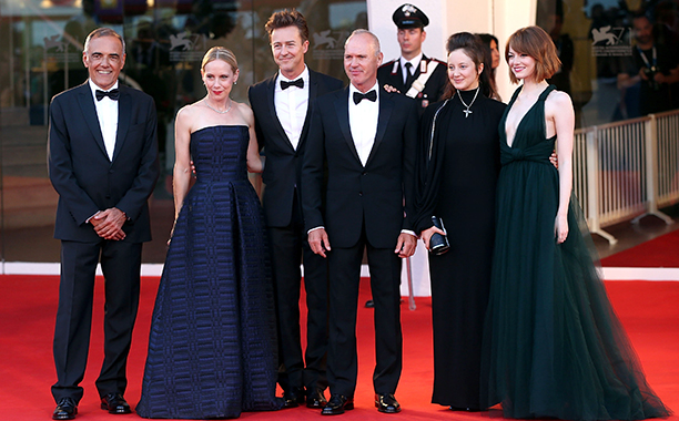 Michael Keaton With Alberto Barbera, Amy Ryan, Edward Norton, Andrea Riseborough, and Emma Stone at the Birdman Premiere at the 71st Venice Film Festival on August 27, 2014