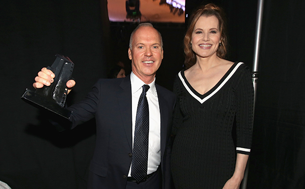 Michael Keaton With Geena Davis at the 18th Annual Hollywood Film Awards on November 14, 2014