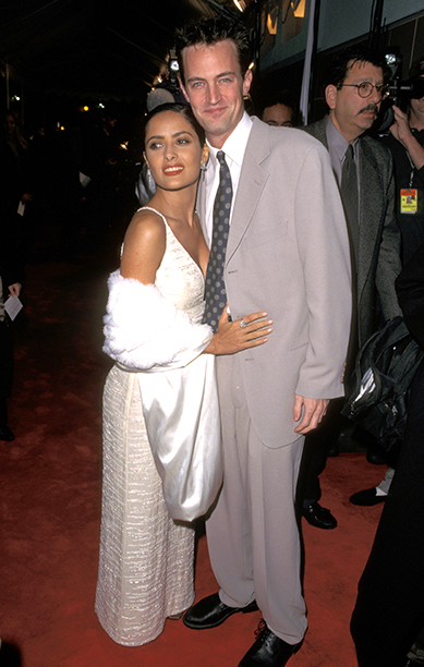 Salma Hayek With Matthew Perry at the Los Angeles Premiere of Fools Rush In on February 11, 1997