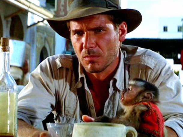 Raiders of the Lost Ark, Harrison Ford | Key Role: The perfidious monkey spy in Raiders of the Lost Ark (1981). Oscar-worthy Moment: The primate offers a convincing Nazi salute. And it dies…