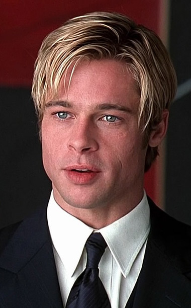 Pitt reverted to a bright blonde, almost boyish cut to play Death. It's not nearly as egregious as the Interview With the Vampire 'do, but…
