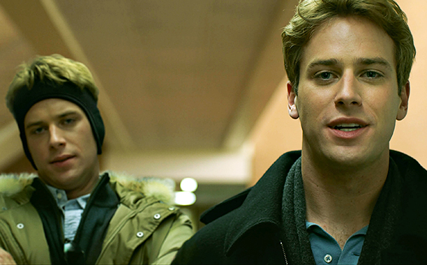 Armie Hammer as Cameron and Tyler Winklevoss in The Social Network