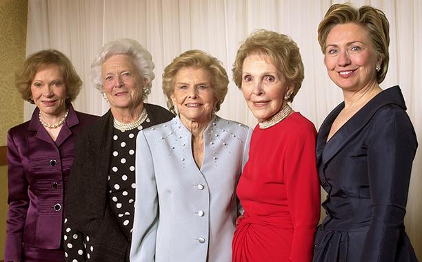 Hillary Rodham Clinton With Rosalynn Carter, Barbara Bush, Betty Ford, and Nancy Reagan at a Gala Saluting Betty Ford and the Betty Ford Center on January 17, 2003