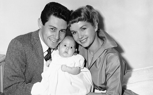 Carrie Fisher With Eddie Fisher and Debbie Reynolds in Hollywood on January 2, 1957