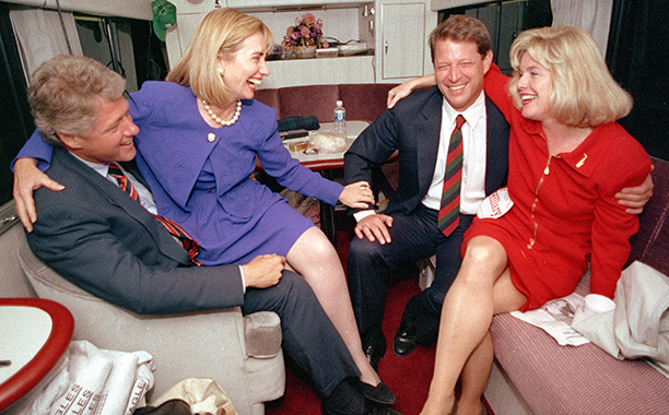 Hillary Rodham Clinton With Bill Clinton, Al Gore, and Tipper Gore in Durham, North Carolina on October 26, 1992