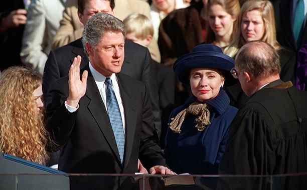 Hillary Rodham Clinton With Bill Clinton and Chelsea Clinton on January 20, 1993